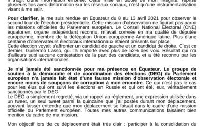 Observation électorale en Equateur, stop à la diffamation !